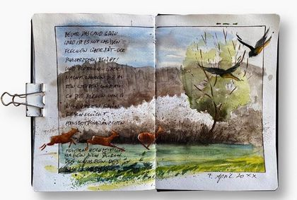 Buch mit Aquarellbild